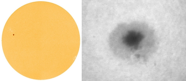 Slunce 31.10.2010 z observatoře-družice SDO a vpravo můj pokus o detail - jeden snímek z videa přes ED80/600 a okulár 5 mm.