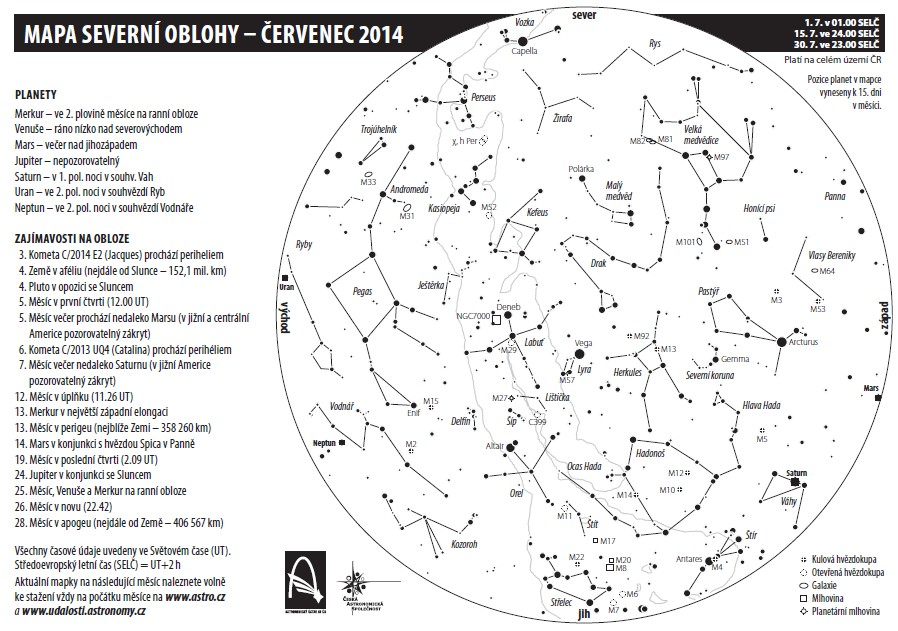 mapa oblohy v červenci 2014, Aleš Majer
