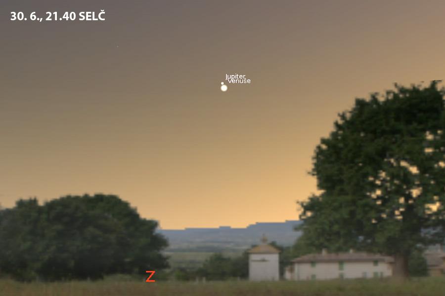 Simulace setkání Venuše s Jupiterem