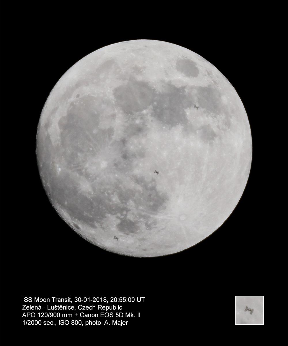 Přelet ISS přes Měsíc 30. 1. 2018, Aleš Majer
