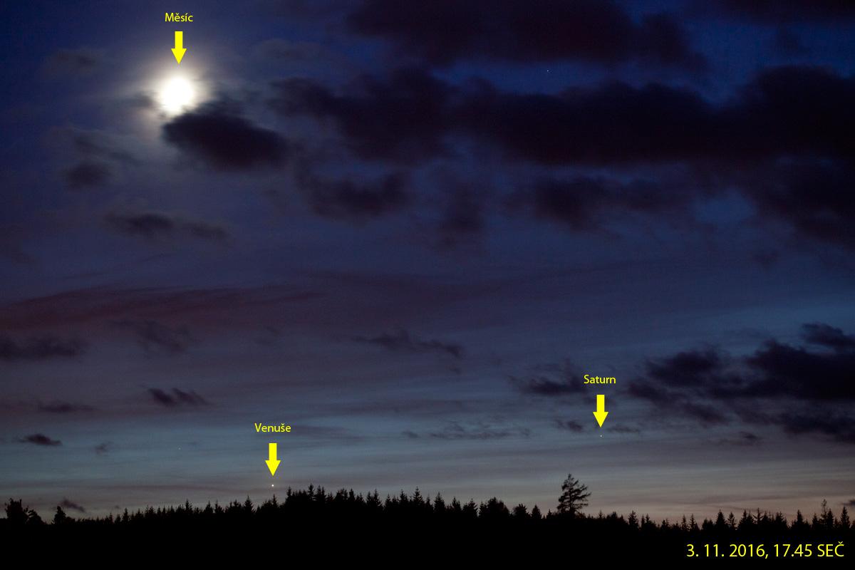 Venuše, Saturn a Měsíc