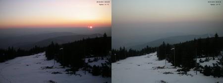 Snímky z webkamery Hydronetu na Lysé hoře ukazují velký zákal především nad ránem