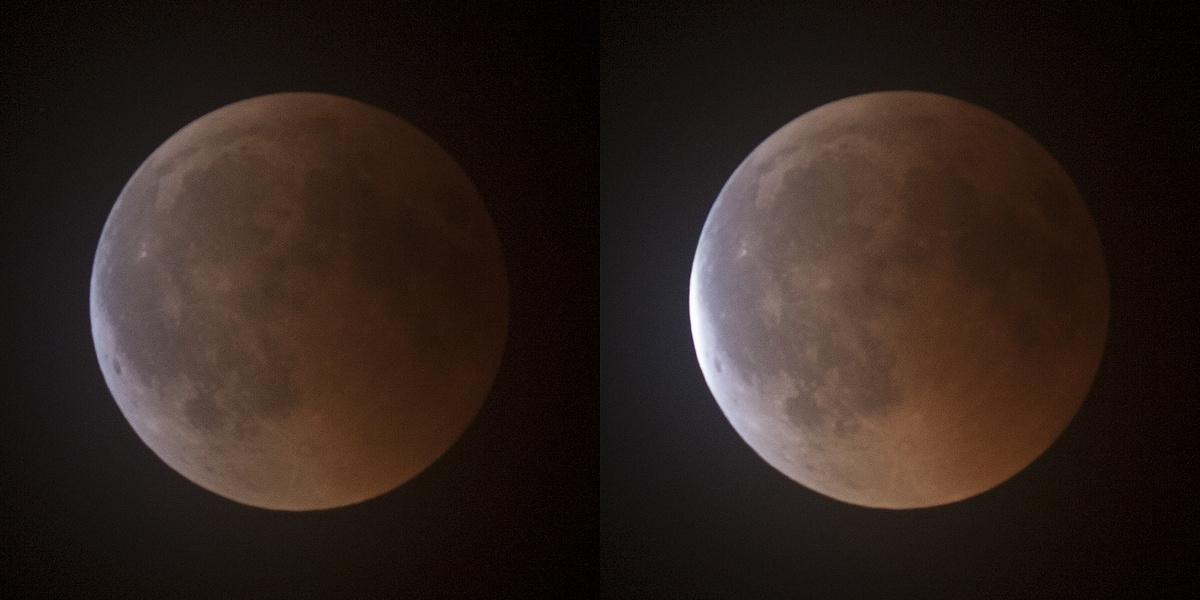 Výstup Měsíce ze stínu ve 23:12 a 23:14 SELČ